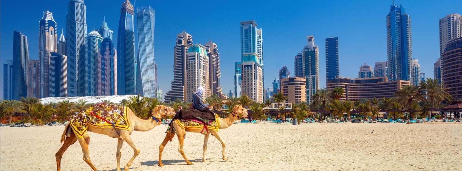 Blick auf den Strand und die Skyline von Dubai