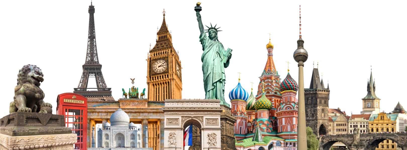 Weltreise - Blick auf die Wahrzeichen der Welt