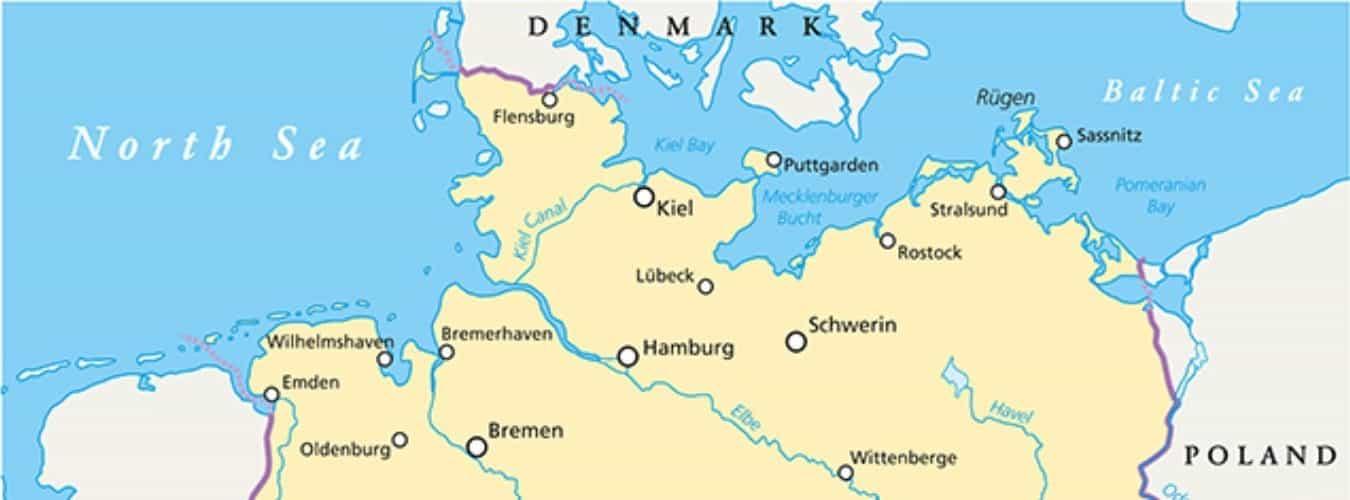 Landkarte von der Ostsee und Nordsee